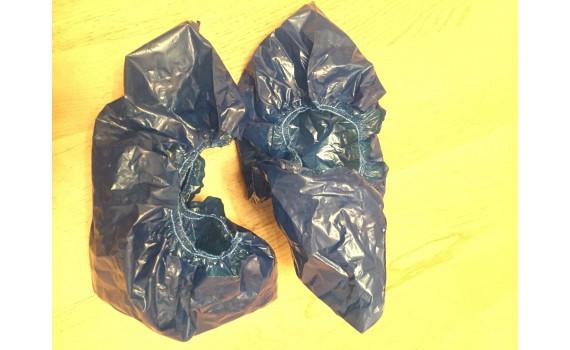 Бахилы двухслойные ультра прочные текстурированные с двойной резинкой и двойной подошвой 13 гр. 130 мкм (микрон)