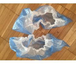 Бахилы бело синие текстур. двухслойные с двойной подошвой 4.1 гр. 40 мкм (микрон)