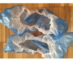 Бахилы бело синие двухслойные с двойной подошвой и резинкой 5.2 гр. 50 мкм (микрон)