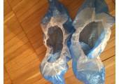 Бахилы особо прочные бело синие двухслойные с двойной подошвой и резинкой 7.1 гр. 70 мкм (микрон)