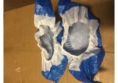Бахилы суперпрочные с двойной подошвой и резинкой бело голубые (7.2 гр.) 70 мкм (микрон)