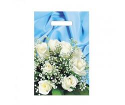 Пакет с вырубной ручкой 20х30 35 мкм (микрон) Букет белых роз