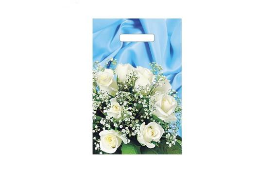Пакет с вырубной ручкой 20х30 (35) Букет белых роз