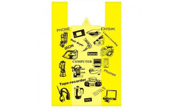 """Пакет """"майка"""" 36+20x56 (17) Электроника (желтый)"""