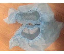 Бахилы ламинированные из спанбонда сверх мега прочные голубые с двойной подошвой 50 гр.