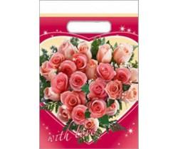 Пакет с вырубной ручкой 30х40 40 мкм (микрон) Сердце из роз