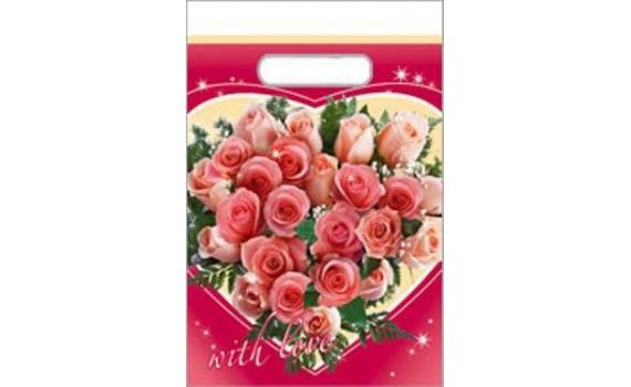 Пакет с вырубной ручкой 30х40 (40) Сердце из роз