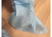 Бахилы ламинированные (носки) нетканые, голубые высокие на завязках с двойной подошвой 50 гр./м2